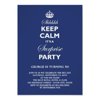 "Keep Calm Funny Milestone Surprise Birthday Party 4.5"" X 6.25"" Invitation Card"