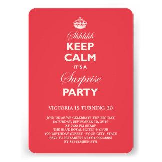 Keep Calm Funny Milestone Surprise Birthday Party Custom Invites