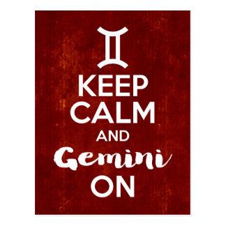 Keep Calm Gemini On Birthday Astrology Postcard