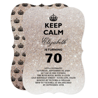 Keep Calm Glitter Milestone Birthday Party Invite