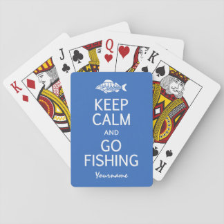 Keep Calm & Go Fishing custom color playing cards