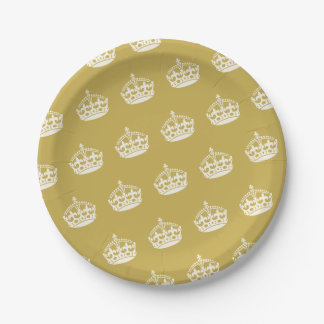 Keep Calm Gold Crown Birthday Party Paper Plates 7 Inch Paper Plate