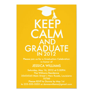 "Keep Calm Graduation 5"" X 7"" Invitation Card"