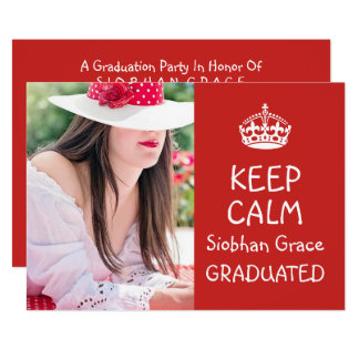 Keep Calm Graduation Red Personalized Card