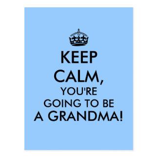Keep Calm Grandma Postcard Pregnancy Announcement