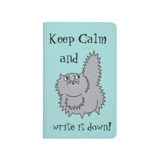 Keep Calm Grey Kitty Journal in Turquoise