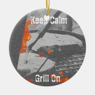 Keep Calm Grill On Ceramic Ornament