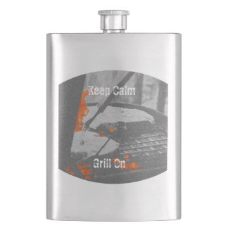 Keep Calm Grill On - Flask