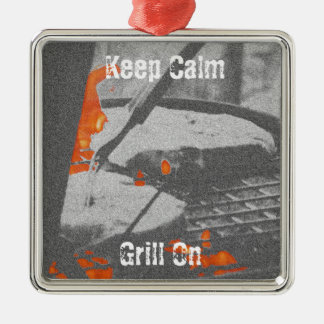 Keep Calm Grill On Metal Ornament
