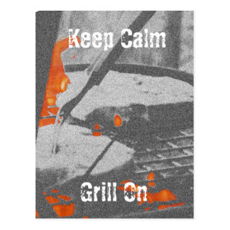 Keep Calm Grill On Postcard