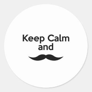 Keep Calm, Handlebar Mustache Stickers