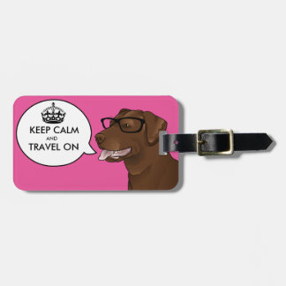 KEEP CALM Hipster Dog Geek Labrador Travel Tag