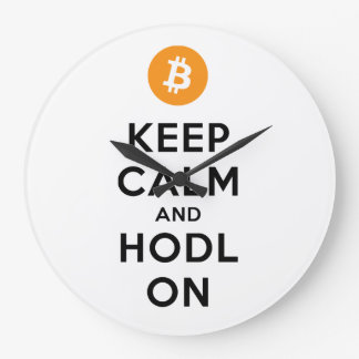 Keep Calm & HODL On Bitcoin Wall Clock