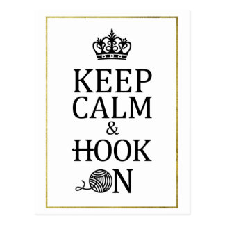 Keep Calm Hook On Faux Gold Crochet Crafts Postcard
