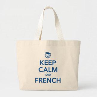 KEEP CALM I AM FRENCH LARGE TOTE BAG