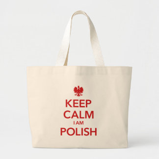 KEEP CALM I AM POLISH LARGE TOTE BAG
