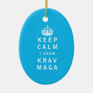 Keep Calm I Know Krav Maga Ceramic Oval Ornament