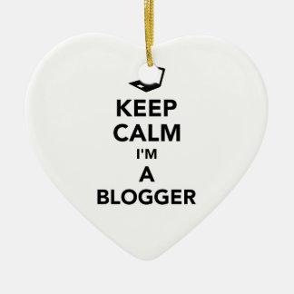 Keep calm I'm a blogger Ceramic Heart Ornament