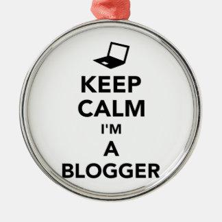 Keep calm I'm a blogger Silver-Colored Round Ornament