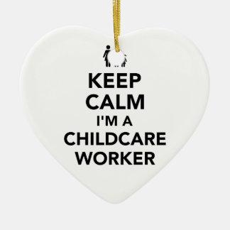 Keep calm I'm a childcare worker Ceramic Ornament