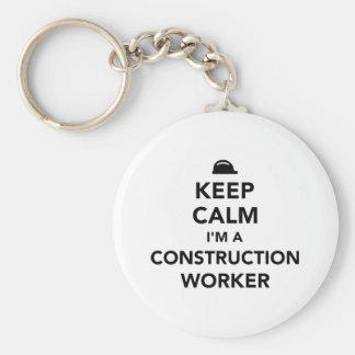 Keep calm I'm a construction worker Basic Round Button Keychain