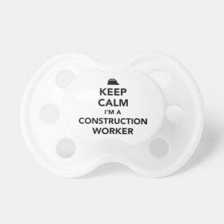 Keep calm I'm a construction worker Pacifier