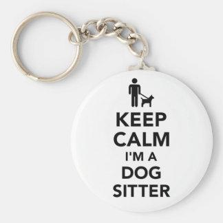 Keep calm I'm a dog sitter Basic Round Button Keychain