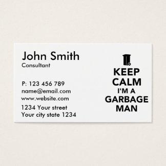 Keep calm I'm a garbage man Business Card