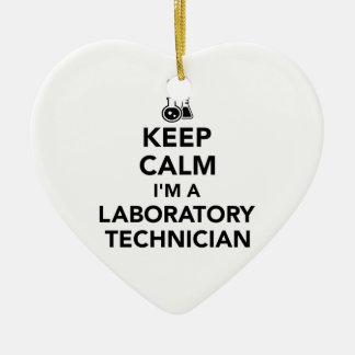 Keep calm I'm a laboratory technician Ceramic Heart Ornament