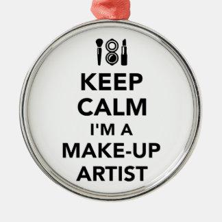 Keep calm I'm a make-up artist Silver-Colored Round Ornament
