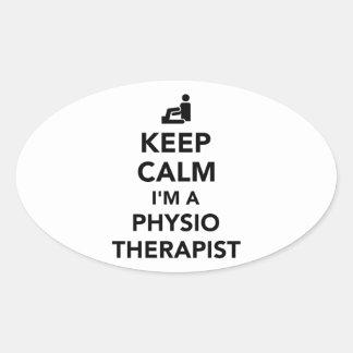 Keep calm I'm a physiotherapist Oval Sticker