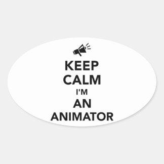 Keep calm I'm an animator Oval Sticker