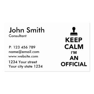 Keep calm I'm an official Business Card