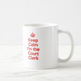 Keep Calm I'm the Court Clerk in Red Basic White Mug