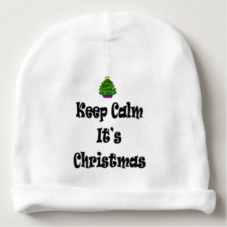 Keep Calm Its Christmas and Tree Baby Beanie