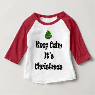 Keep Calm Its Christmas and Tree Baby T-Shirt