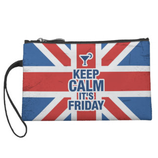 """""""Keep Calm it's Friday"""" Funny relax chill british Wristlets"""