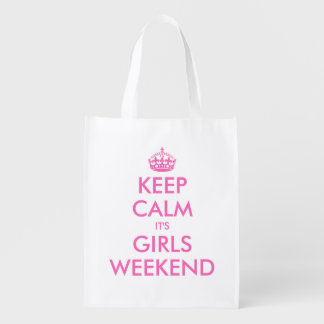 Keep calm it's girls weekend reusable shopping bag reusable grocery bag