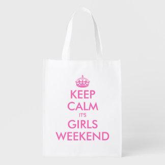 Keep calm it's girls weekend reusable shopping bag reusable grocery bag