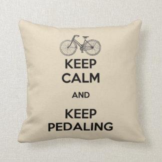 Keep Calm Keep Pedaling Bicycle Throw Pillow
