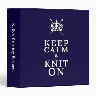 Keep Calm Knit On {Dark} Pattern Organizer 3 Ring Binders