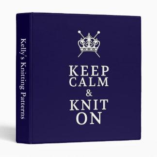 Keep Calm Knit On {Dark} Pattern Organizer 3 Ring Binders