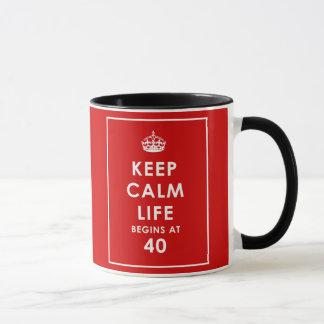 KEEP CALM LIFE BEGINS AT 40 MUG