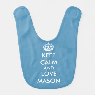 Keep Calm Love Personalized Blue Bib