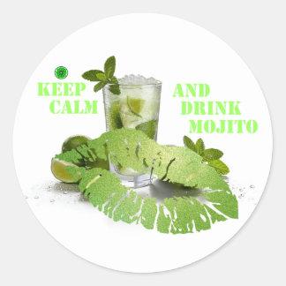 Keep Calm Mojito Classic Round Sticker