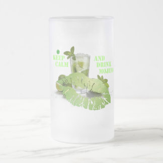 Keep Calm Mojito Frosted Glass Beer Mug