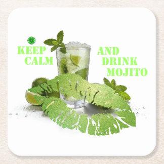 Keep Calm Mojito Square Paper Coaster