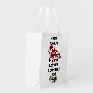 Keep Calm My Pitbull Loves Zombies Reusable Bag Grocery Bags