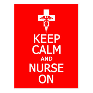Keep Calm & Nurse On postcard, customize Postcard