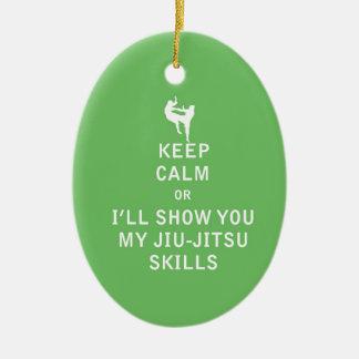 Keep Calm or i'll Show You My JiuJitsu Skills Ceramic Ornament